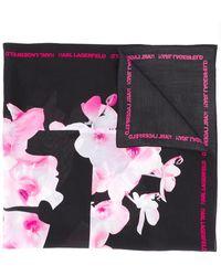 Karl Lagerfeld K/orchid シルクスカーフ - ブラック