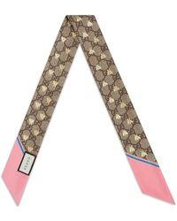 Gucci Pañuelo de cuello con motivo GG y de abejas - Multicolor