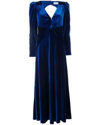 Self-Portrait Maxi-jurk Met V-hals - Blauw