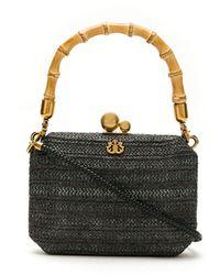 Isla Straw Hand Bag - Black