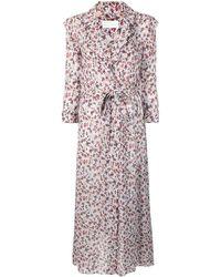 Chloé Floral Print Wrap Dress - Gray