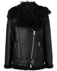 Amen - Shearling Zipped Biker Jacket - Lyst