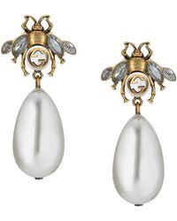 Gucci Bee Earrings With Drop Pearls - Metallic