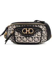 Ferragamo Leather & Jacquard Belt Bag - Black