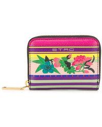 Etro Mini Floral-print Wallet - Purple