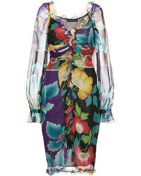 Etro Платье Со Вставками И Цветочным Принтом - Многоцветный