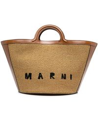 Marni Handtasche mit Logo - Braun