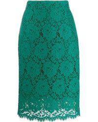 Dolce & Gabbana レース ミディスカート - グリーン