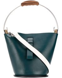 Marni Wooden Handle Bucket Bag - Blue