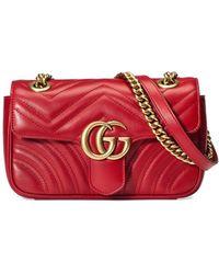 3cc445589 Gucci Mini Borsa Gg Marmont In Pelle Matelassé in Red - Save 10% - Lyst