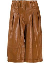 Arma Pleated Lambskin Shorts - Brown
