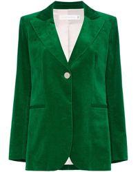Victoria Beckham ベルベット シングルジャケット - グリーン