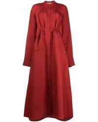 Jil Sander Длинное Платье-рубашка С Длинными Рукавами - Красный