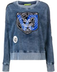 Versace Jeans Couture Tiger Patch Applique Washed Sweatshirt - Синий