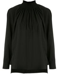 Prada Ruched High-neck Blouse - Black