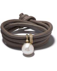 Mizuki 14kt Gold Diamond Pearl Wrap Bracelet - Metallic