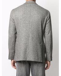 Brunello Cucinelli Однобортный Пиджак С Узором В Елочку - Серый