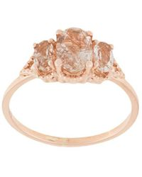Natalie Marie 18kt Rose Gold Precious Trio Oval Wrap Ring - Metallic