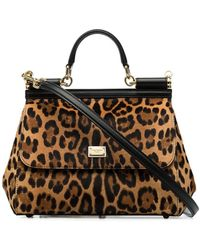 Dolce & Gabbana Medium Sicily Leopard-print Tote - Brown