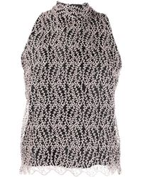 be Blumarine Embroidered Mock-neck Top - Pink