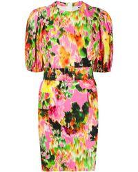 MSGM - Платье Мини С Абстрактным Цветочным Принтом И Поясом - Lyst