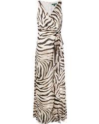 Lauren by Ralph Lauren V-neck Zebra Print Dress - Brown
