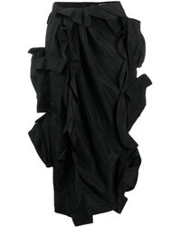 Preen By Thornton Bregazzi Ruffled Pencil Skirt - Black