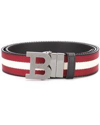Bally Striped Logo-buckle Belt - Red