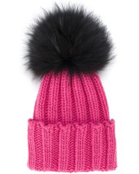Inverni - Pink Ribbed Cashmere Hat With Fur Pom Pom - Lyst