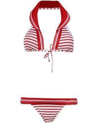 Amir Slama Halter Bikini Met Print - Rood