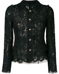 Dolce & Gabbana Lace Embroidered Fitted Jacket - Черный