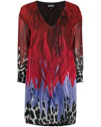 Just Cavalli Animal-print V-neck Shift Dress - Red