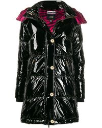 Class Roberto Cavalli Shiny-effect Quilted Coat - Black