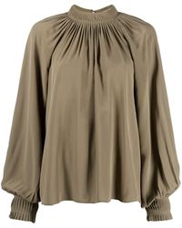 Closed Pleated Collar Satin Blouse - Green