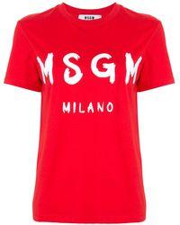 MSGM T-Shirt Logo Milano - Rosso