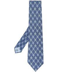 Hermès Geruite Stropdas - Blauw