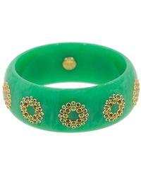 Mark Davis 18kt Yellow Gold Sapphire Bakelite Bangle Bracelet - Green