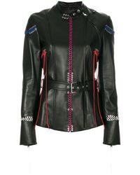 Alexander McQueen Кожаная Куртка С Декоративной Прошивкой - Черный