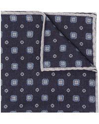 Eleventy Mouchoir de poche à fleurs - Bleu