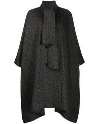 MSGM Patterned Shawl Collar Oversized Coat - Grey