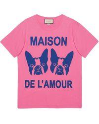 """Gucci Bosco & Orso """"maison De L'amour"""" Tシャツ - ピンク"""