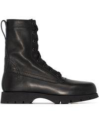 Jil Sander Leather Combat Boots - ブラック