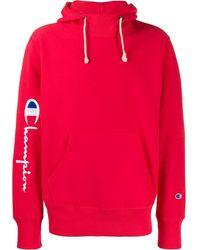 Champion Kapuzenpullover mit Logo-Stickerei - Rot