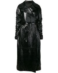 DROMe エナメル ロングコート - ブラック