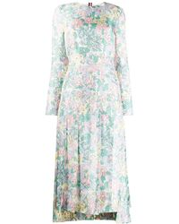 Thom Browne Sunny Floral Multi Print Long Sleeve Pleated Dress - マルチカラー