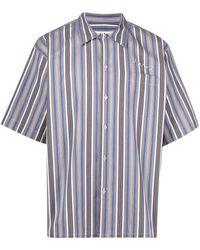 Marni Полосатая Рубашка С Вышитым Логотипом - Серый