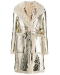 Blancha Пальто Из Овчины С Поясом - Белый