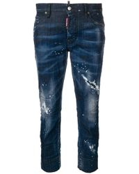 DSquared² - Cropped Ripped Jeans - Lyst