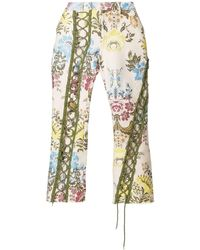 Lace Up Floral Trousers - Multicolour