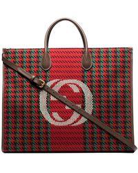 Gucci Твидовая Сумка-тоут С Логотипом Interlocking G - Красный